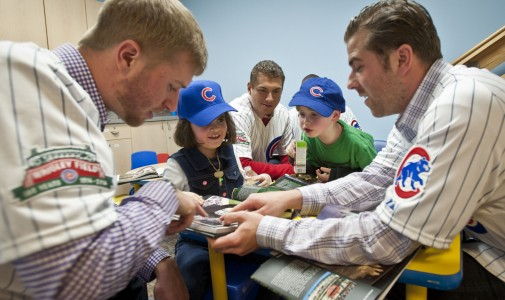 Cubs prospects Eric Jokisch, Albert Almora and Mike Olt hang out with the kids.