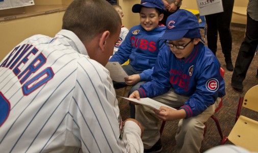 Kids had the opportunity to interview Cubs prospect Armando Rivero.