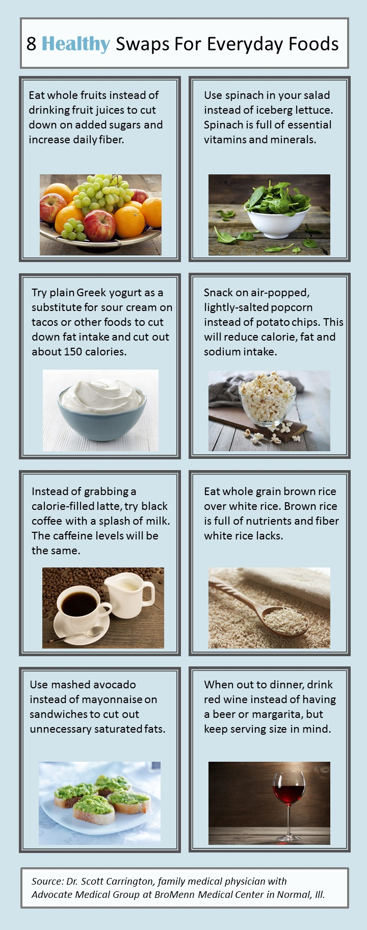 Infographic 8 Easy Food Swaps For Weight Loss And Health Health Enews