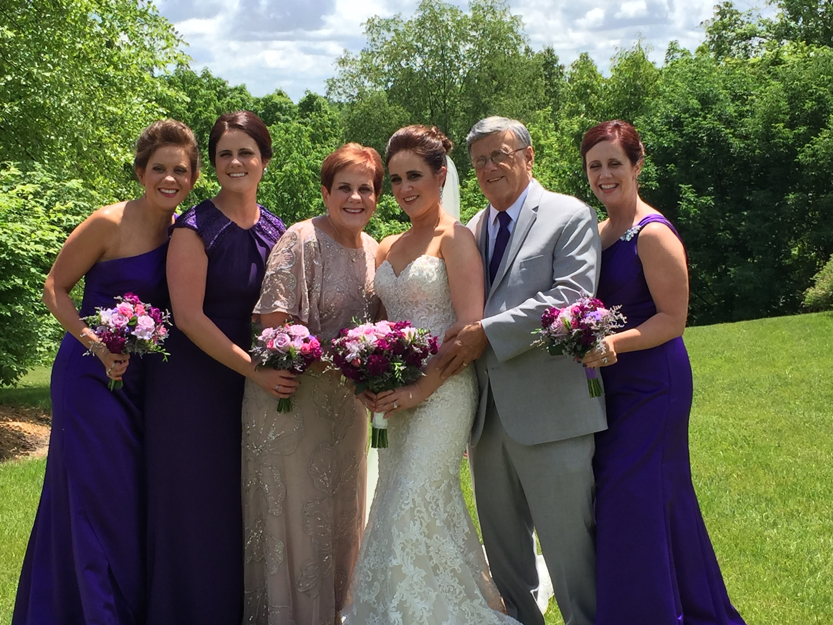 Photo caption: (L-R): Daughters Patty and Laura, Chuck's wife Bernadette, daughter Jessica, Chuck and daughter/donor, Beth